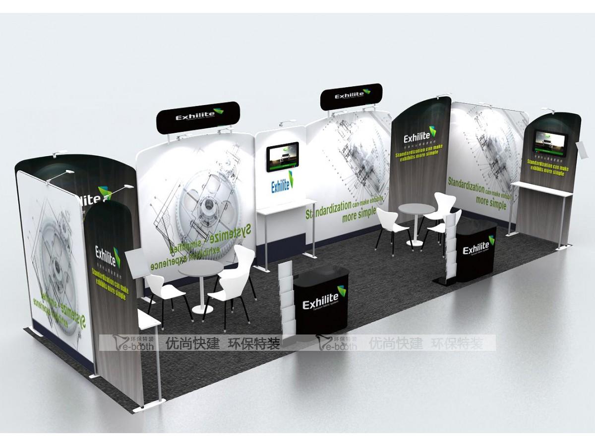 绿色展位27平米,展台设计搭建,一站式展会布置